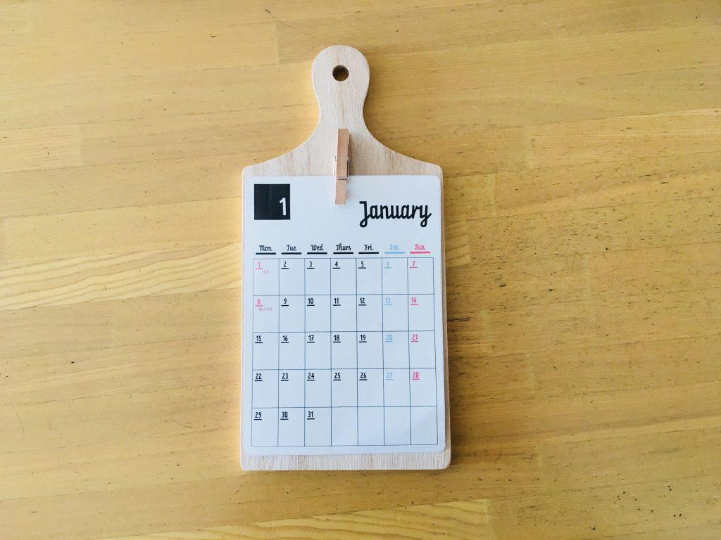 セリアのボードとカレンダー
