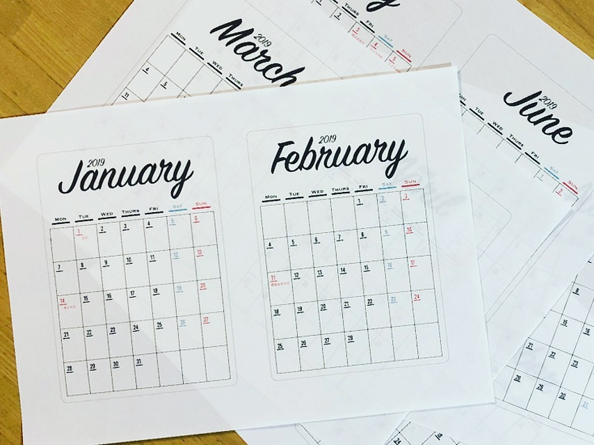 2019年無料カレンダー